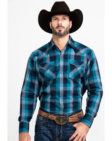 Ely Cattleman Men's Assorted Multi Peached Plaid Long Sleeve Western Shirt - Tall , Multi, hi-res