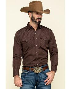 Ely Cattleman Men's Dark Tonal Stripe Long Sleeve Western Shirt , Multi, hi-res