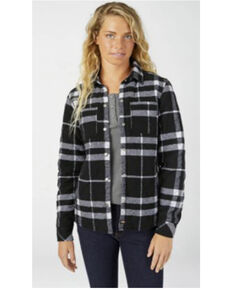 Dickies Women's Black & White Quilted Flannel Shirt Jacket, Black, hi-res