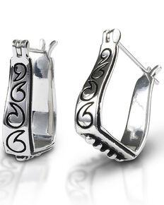Kelly Herd Women's Engraved Stirrup Earrings , Silver, hi-res