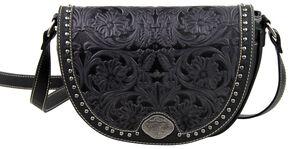 Montana West Trinity Ranch Black Tooled Design Messenger Bag, Black, hi-res