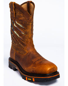 Cody James Men's Flag Western Work Boots - Nano Composite Toe, Brown, hi-res