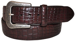 G Bar D Men's Dark Brown Croco Print Belt, Dark Brown, hi-res