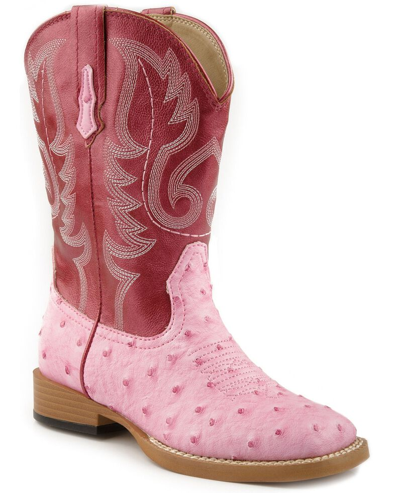 Roper Youth Faux Ostrich Print Cowboy Boots, Pink, hi-res