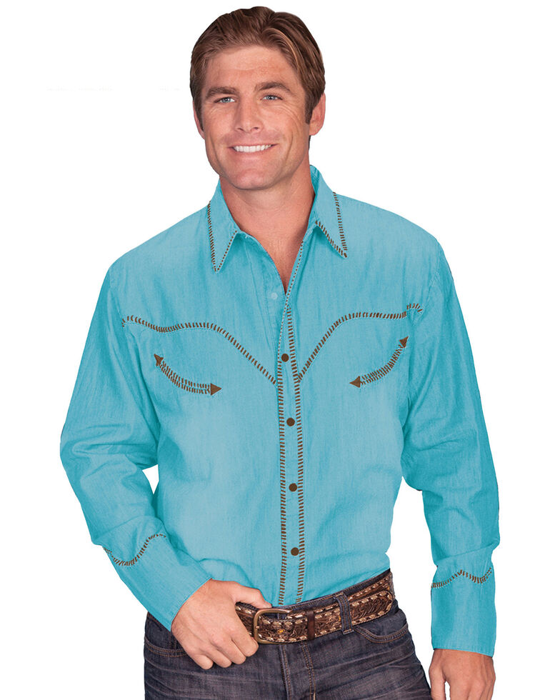 Scully Men's Solid Whipstitch Denim Retro Long Sleeve Western Shirt, Turquoise, hi-res