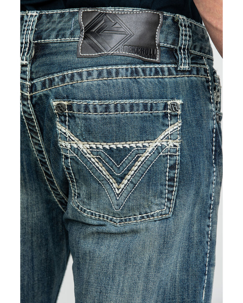 Rock & Roll Denim Men's Pistol Med Slim Bootcut Jeans , Blue, hi-res