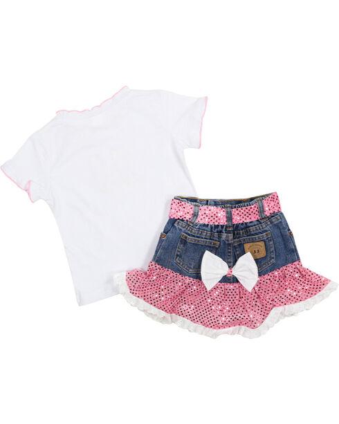 Kid's Korral Girl's Sequin Ruffle Shirt and Skirt Set, Pink, hi-res