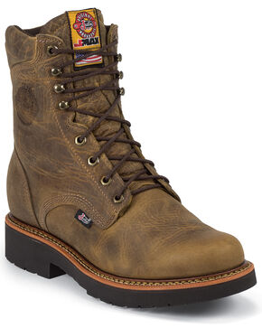 "Justin Men's J-Max 8"" Blueprint Lace-Up EH Work Boots - Steel Toe, Tan, hi-res"