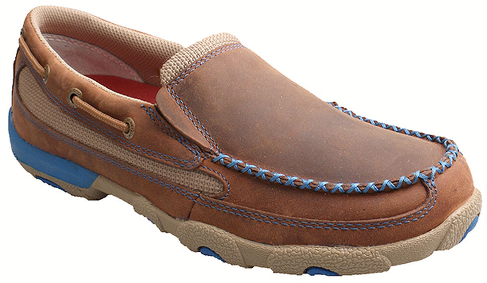 Twisted X Women's Brown and Blue Leather Driving Mocs, , hi-res