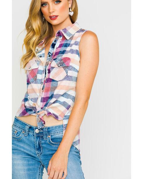 Shyanne Women's Plaid Mineral Wash Sleeveless Shirt, Multi, hi-res
