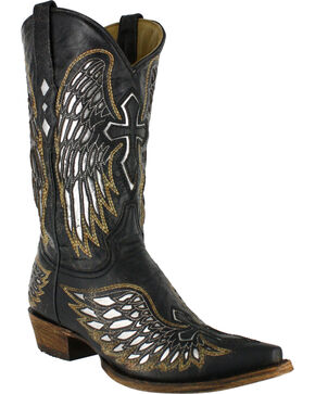 Corral Men's Black Wing and Cross Western Boots - Snip Toe, Black, hi-res