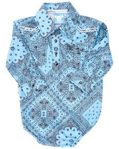 Cowboy Hardware Infant Boys' Blue Retro Bandana Long Sleeve Snap Western Onesie , Blue, hi-res