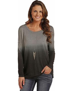 Rock & Roll Cowgirl Women's Dip Dye Drop Shoulder Top, Black, hi-res