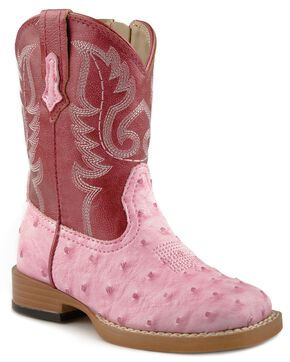 Roper Toddler Girls' Faux Ostrich Cowboy Boots - Square Toe, Pink, hi-res