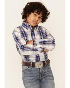 Panhandle Boys' Beige Plaid Button Down Long Sleeve Western Shirt , Beige/khaki, hi-res