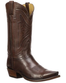 Lucchese Men's Collins Exotic Buffalo Skin Western Boots - Snip Toe, Brown, hi-res