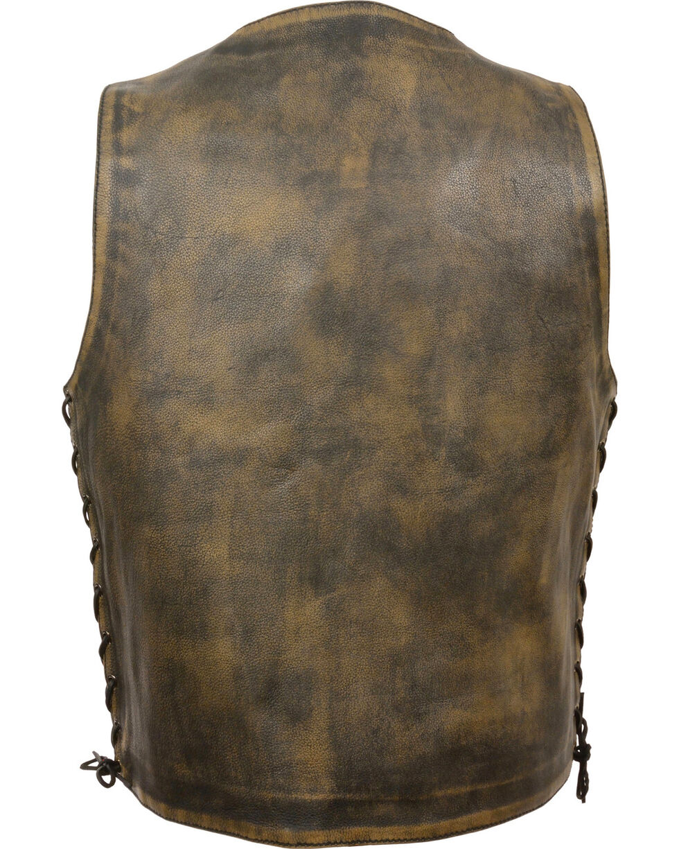 Milwaukee Leather Men's Brown Distressed 10 Pocket Vest - 4X, Black/tan, hi-res