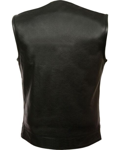 Milwaukee Leather Men's Black Collarless Zip Front Club Vest - Big 4X, Black, hi-res