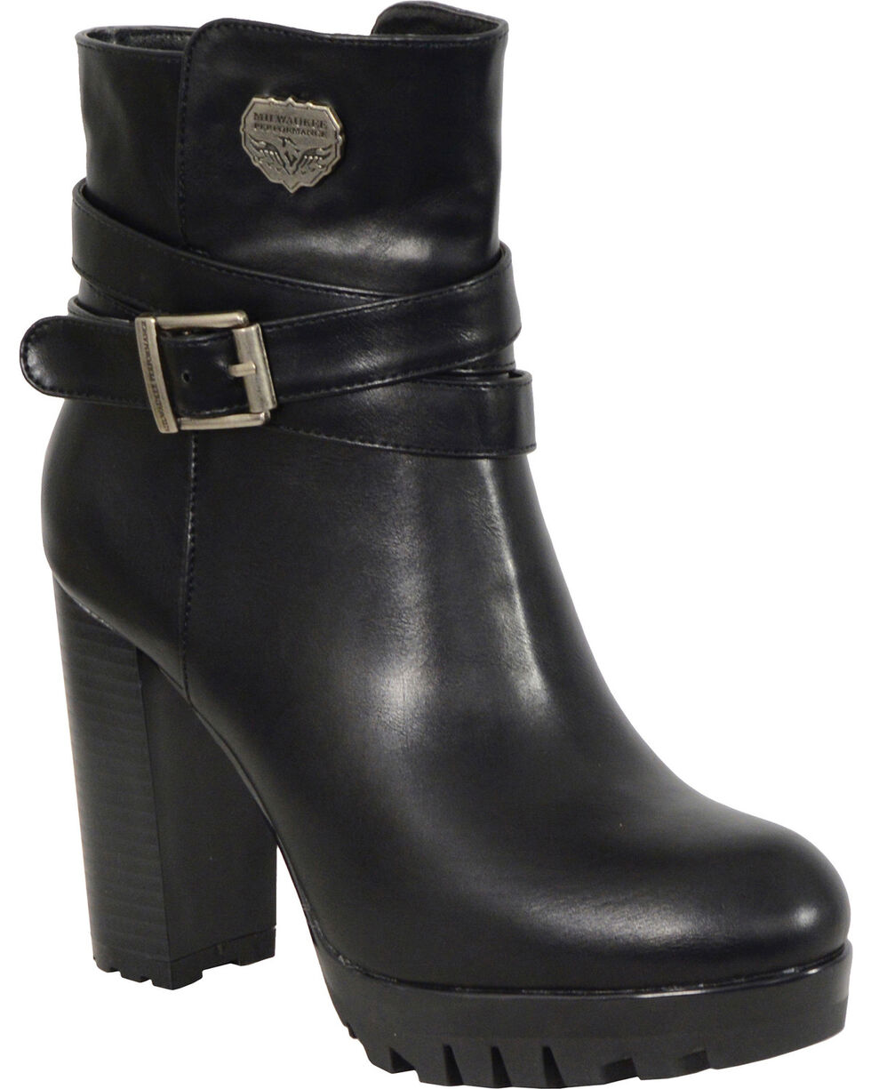 Milwaukee Leather Women's Black Double Strap Platform Heel Boots - Round Toe , Black, hi-res