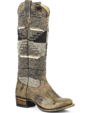 Stetson Women's Tahoe Serape Fabric Cowgirl Boots - Round Toe, Brown, hi-res