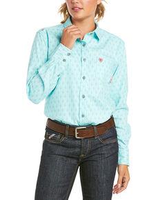 Ariat Women's FR Gemini Geo Print Durastretch Long Sleeve Button Work Shirt , Blue, hi-res