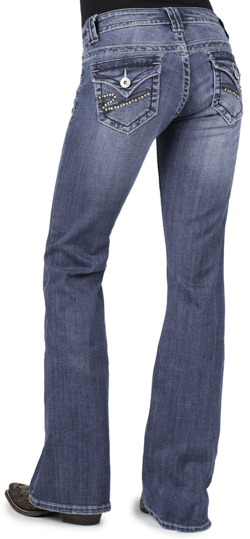 Stetson Women's 816 Classic Fit Embellished Bootcut Jeans, Denim, hi-res