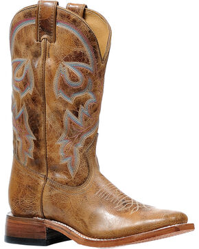 Boulet Women's Damasko Taupe Stockman Cowgirl Boots - Square Toe, Tan, hi-res