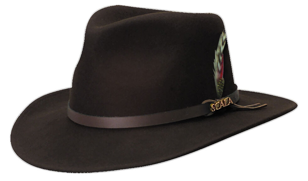 Scala Men's Chocolate Brown Crushable Wool Felt Outback Hat, Chocolate, hi-res