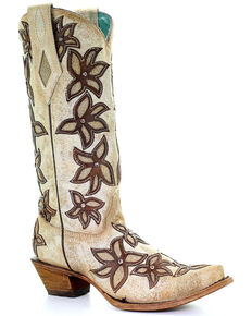 Corral Women's Bone Overlay Western Boots - Snip Toe, White, hi-res