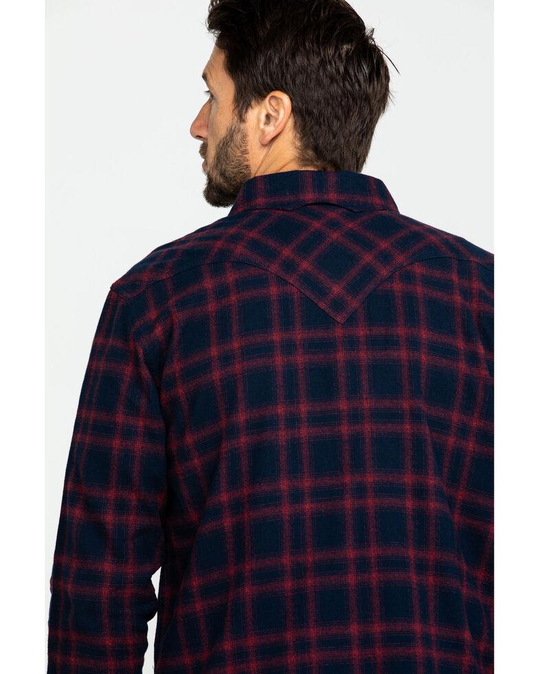 Moonshine Spirit Men's War Pipe Plaid Long Sleeve Western Flannel Shirt , Maroon, hi-res