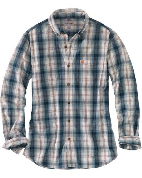 Carhartt Men's Blue Essential Plaid Button Down Long Sleeve Shirt , Blue, hi-res
