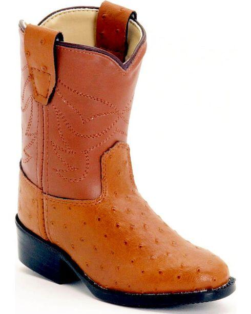 Old West Toddlers' Ostrich Print Cowboy Boots, Cognac, hi-res