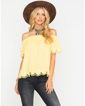 Blush Noir Women's Yellow Lace Edge Top , Yellow, hi-res