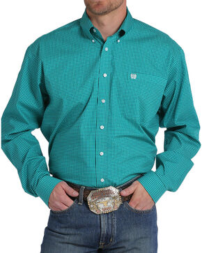 Cinch Men's Teal Print Long Sleeve Button Down Shirt, Teal, hi-res