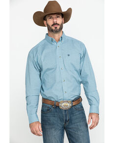 Ariat Men's Novato Small Plaid Long Sleeve Western Shirt , Turquoise, hi-res