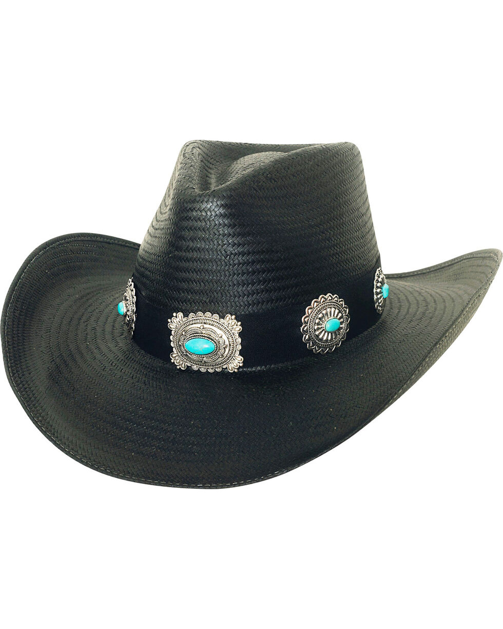 Bullhide Women's A Night To Shine Straw Cowgirl Hat, Black, hi-res