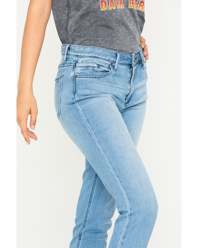 Tractr Blu Women's Girlfriend Denim Tapered Slim Jeans , Indigo, hi-res