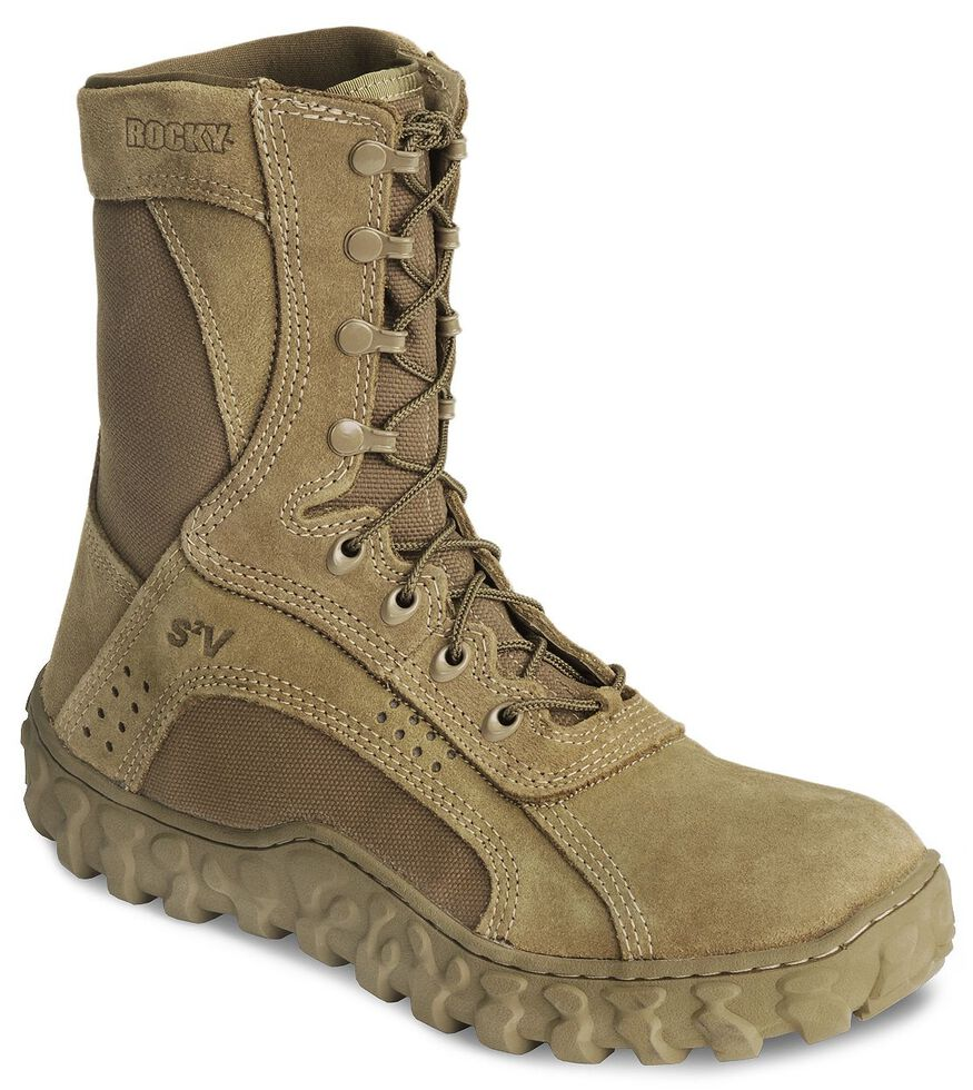 "Rocky S2V Vented 8"" Lace-Up Military Boots - Round Toe, Coyote Brown, hi-res"