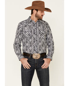 Rock & Roll Denim Men's Black Aztec Striped Long Sleeve Snap Western Shirt , Black, hi-res