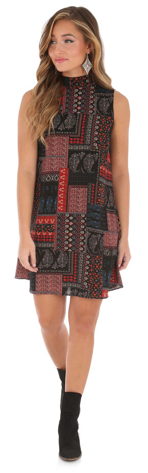 Wrangler Women's Sleeveless High Collar Print Dress, Multi, hi-res