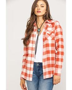Wrangler Women's Rust Plaid Flannel Shirt, Rust Copper, hi-res