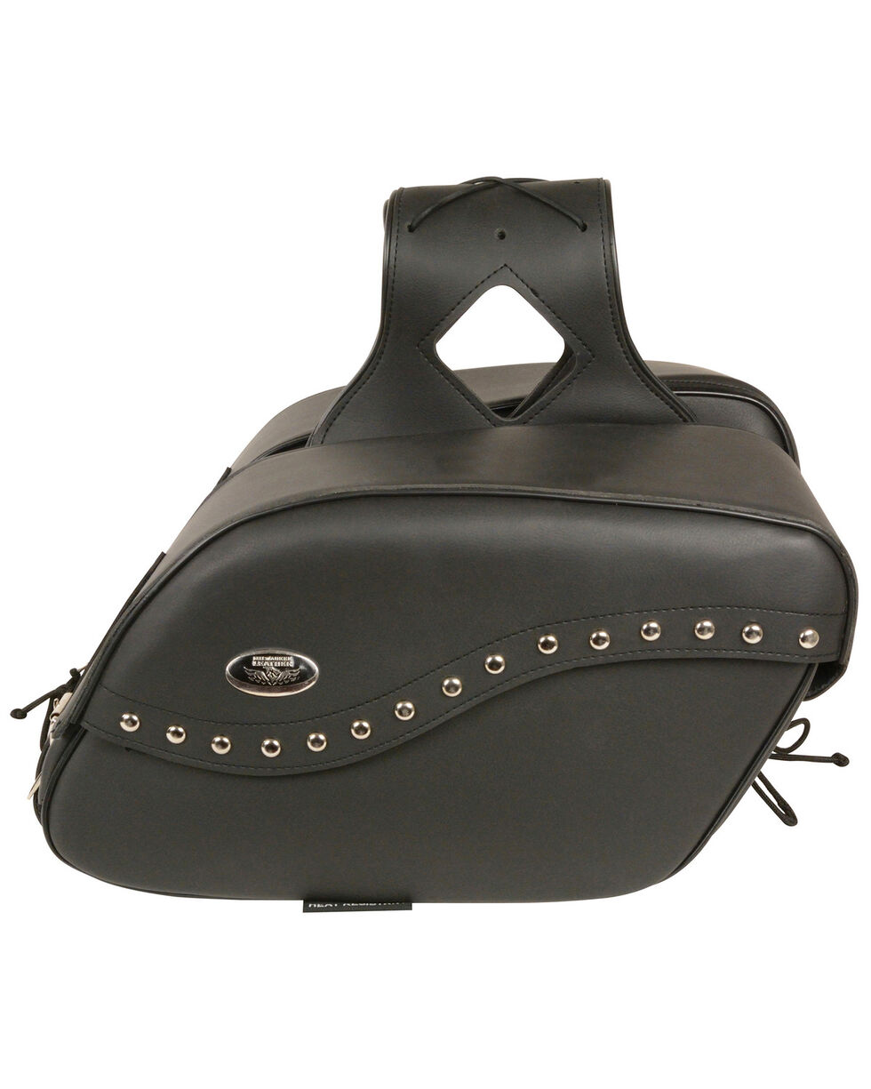 Milwaukee Leather Zip-Off PVC Studded Velcro Close Throw Over Saddle Bag, Black, hi-res