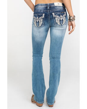 "Miss Me Women's Leather Wing Pearl Pocket 34"" Boot Jeans , Blue, hi-res"