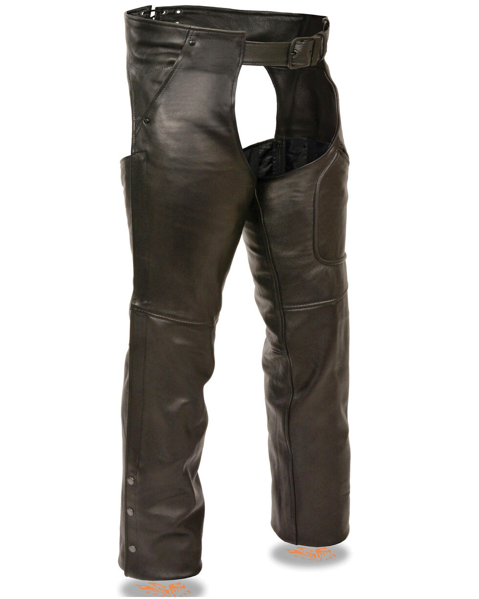 Milwaukee Leather Men's 3 Pocket Leather Chaps - 4X, Black, hi-res