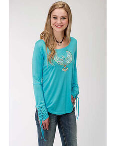 a47f48773 Five Star Womens Eagle Long Sleeve Top, Blue, hi-res