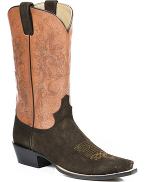 Stetson Women's Brown Suede Red Antiqued Leather Western Boots - Snip Toe, Red, hi-res