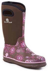 Roper Neoprene Shaft Rubber Boots - Round Toe, Brown, hi-res