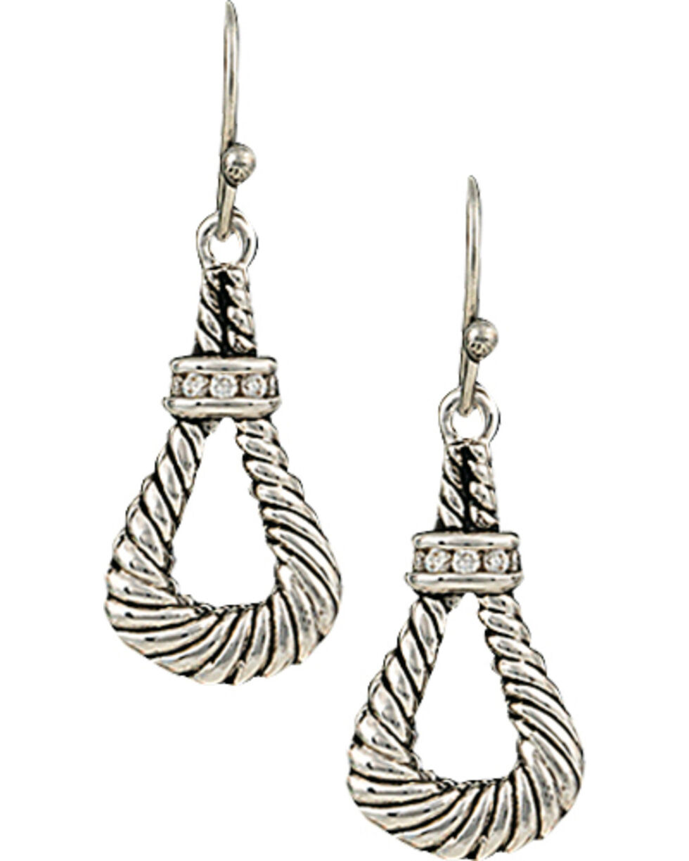 Montana Silversmiths Women's Twisted Rope Loop Earrings, Silver, hi-res