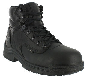 "Timberland Men's Black Titan 6"" Work Boots - Alloy Toe , Black, hi-res"