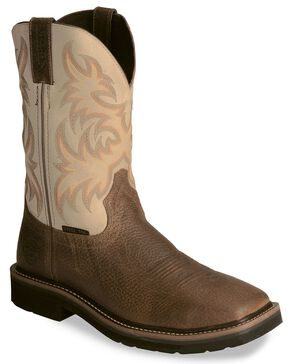 Justin Stampede Copper Western Work Boot - Steel Toe, Copper, hi-res